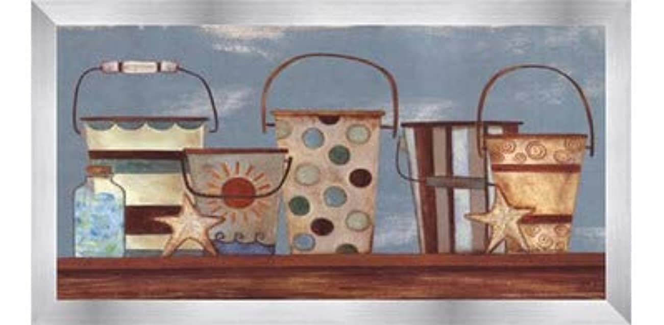 バスケットボール赤酒Vintage Beach Pails I by Bernadette Deming – 16 x 8インチ – アートプリントポスター LE_613826-F9935-16x8