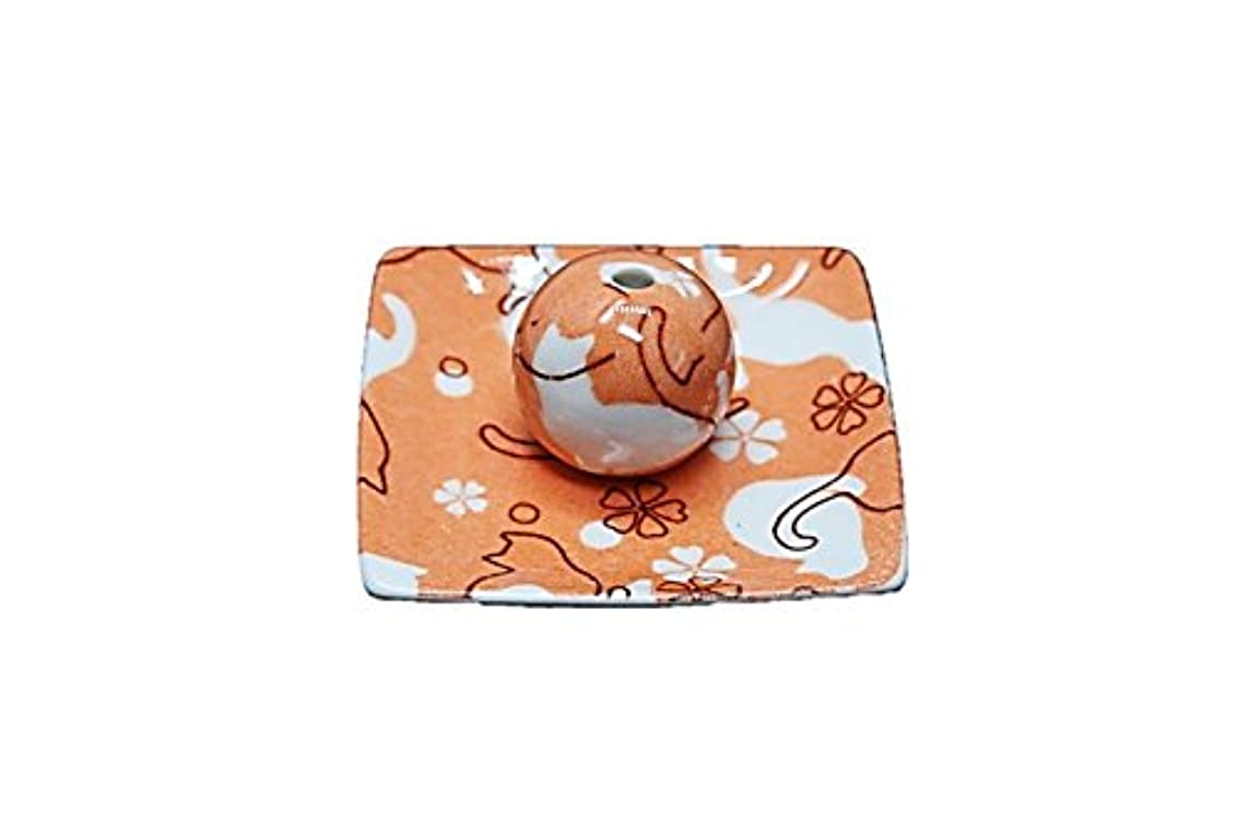 うがい薬マークされた心理的にネコ ランド オレンジ 小角皿 お香立て 陶器 ねこ 製造 直売