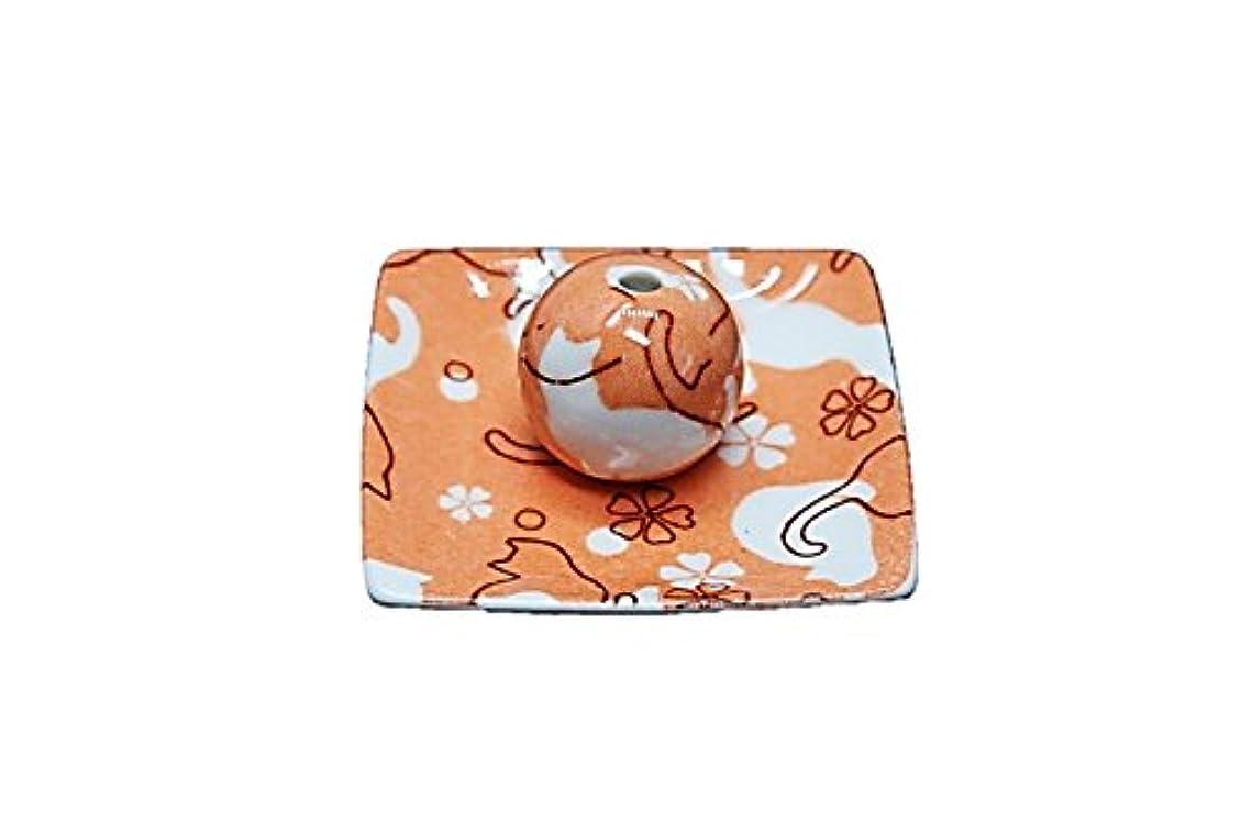 ネコ ランド オレンジ 小角皿 お香立て 陶器 ねこ 製造 直売