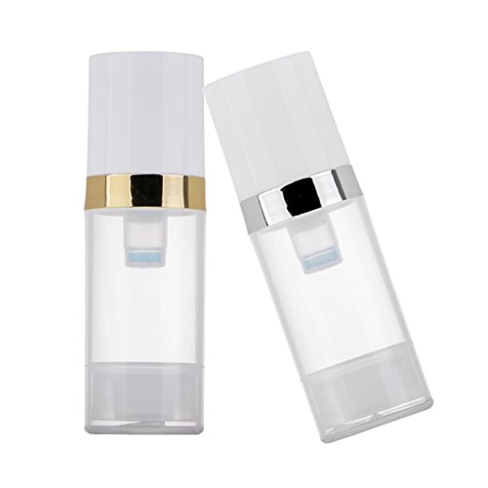 はぁ現実的独特のKesoto 2個 ポンプボトル ディスペンサー 10ml クリア 真空 プレスポンプボトル 化粧品 ローション コンテナ 詰め替え可