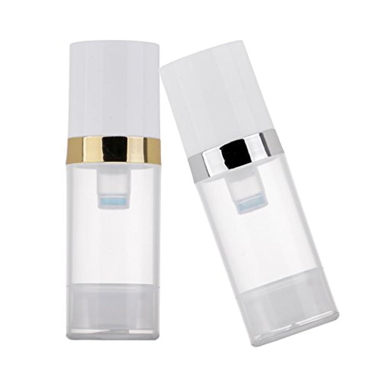 不注意類人猿バングKesoto 2個 ポンプボトル ディスペンサー 10ml クリア 真空 プレスポンプボトル 化粧品 ローション コンテナ 詰め替え可