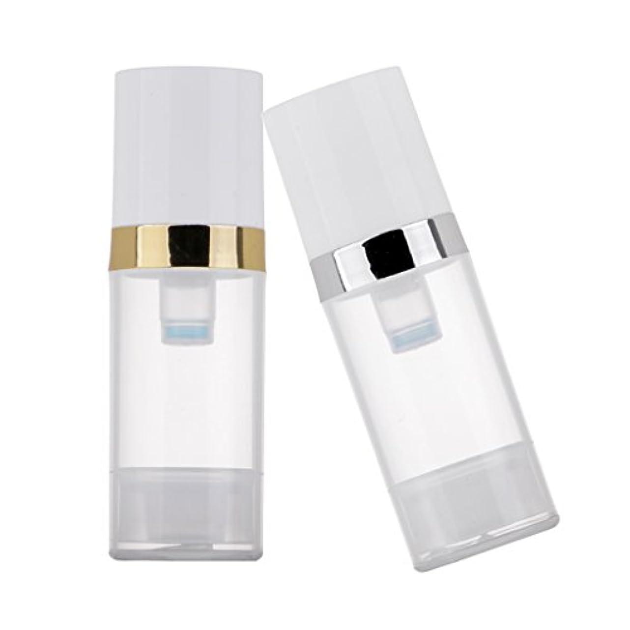 未使用瞑想するフライト2個 ポンプボトル ディスペンサー 10ml クリア 真空 プレスポンプボトル 化粧品 ローション コンテナ 詰め替え可
