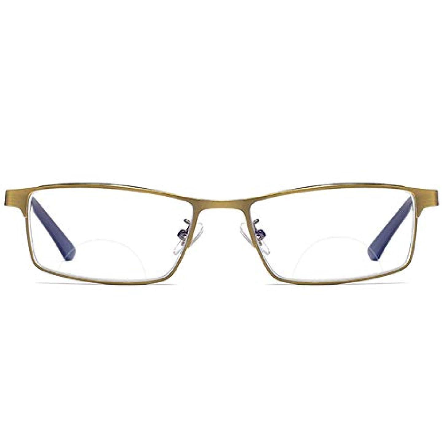 世論調査モバイル震えるインテリジェント変色老眼鏡、遠近両用多焦点、フルフレームメタル、男性用および女性用