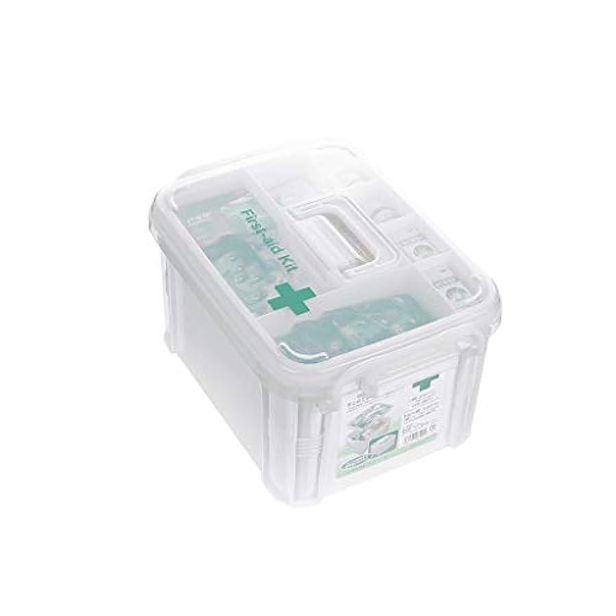 スーダンキウイスペース家庭用薬箱プラスチック薬品収納箱大型ポータブル医療箱救急箱 AMINIY (Size : 34×23.5×18.5cm)