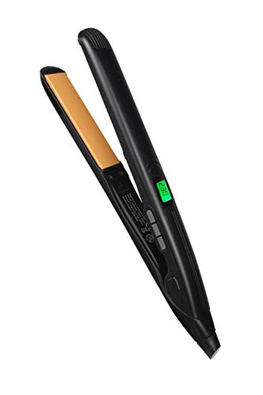 NPET ヘアアイロン ストレート·カール両用23mm 130?230℃ 温度調整 PSE認証済 マイナスイオン セラミックプレート LCDディスプレイ 自動off 海外対応 カバー付き (ブラック)