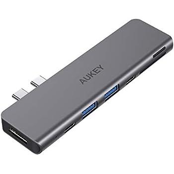 AUKEY USB Type C ハブ 7-in-1 マルチハブ Thunderbolt 3ポート搭載 40Gbps 高速データ転送 5K@60Hz 100W PD急速充電/USB-Cポート/4K HDMI/USB 3.0x2 /SD&MicroSD カードスロット ウルトラスリム 2年間安心保証 MacBookAir2018/2019 MacBookPro2016/2017/2018に対応 CB-C76 スペースグレイ