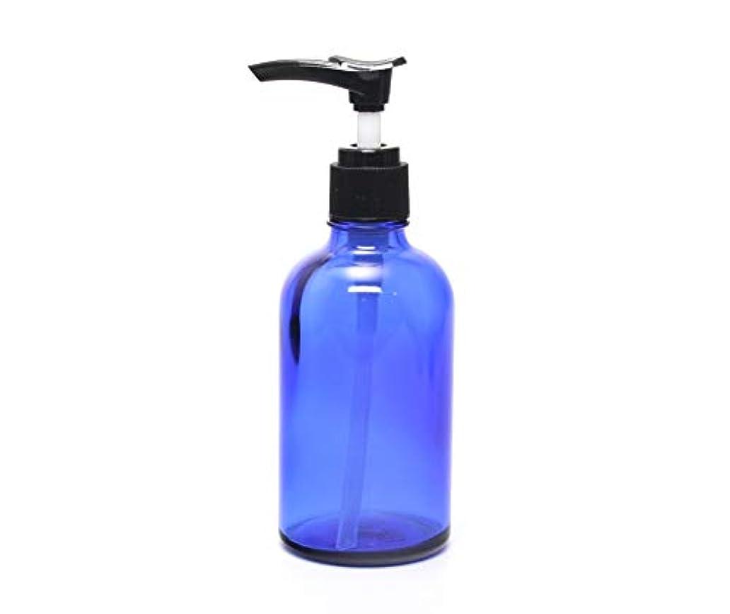 パッチ拒絶する希望に満ちた遮光瓶 ポンプボトル (硝子) 100ml / ブルー ? ブラックポンプヘッド (1本)