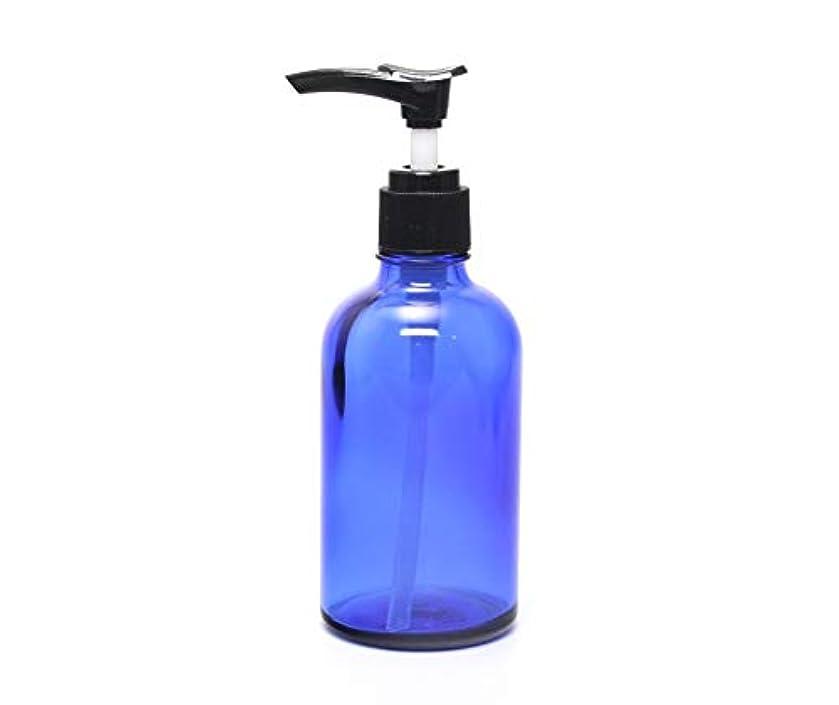 マークダウンすり電気の遮光瓶 ポンプボトル (硝子) 100ml / ブルー ? ブラックポンプヘッド (1本)