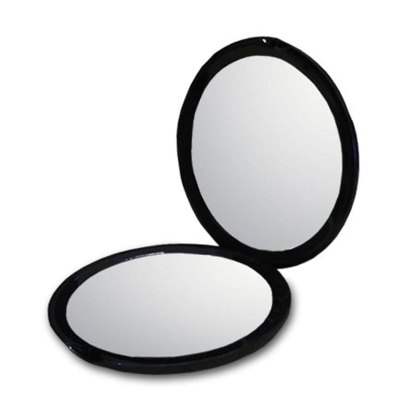 マイルド植物学者ボクシング10倍 拡大鏡付き コンパクトミラー 化粧鏡。等倍鏡と10倍鏡の両面鏡。通常の鏡の10倍の大きさで映る!細かなメイクや日々のスキンケアに最適! (ブラック)