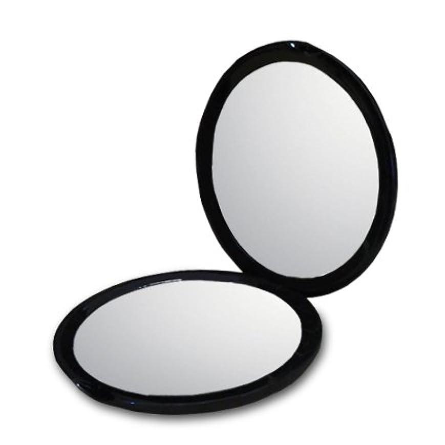 助言する割り当てる航空会社10倍 拡大鏡付き コンパクトミラー 化粧鏡。等倍鏡と10倍鏡の両面鏡。通常の鏡の10倍の大きさで映る!細かなメイクや日々のスキンケアに最適! (ブラック)