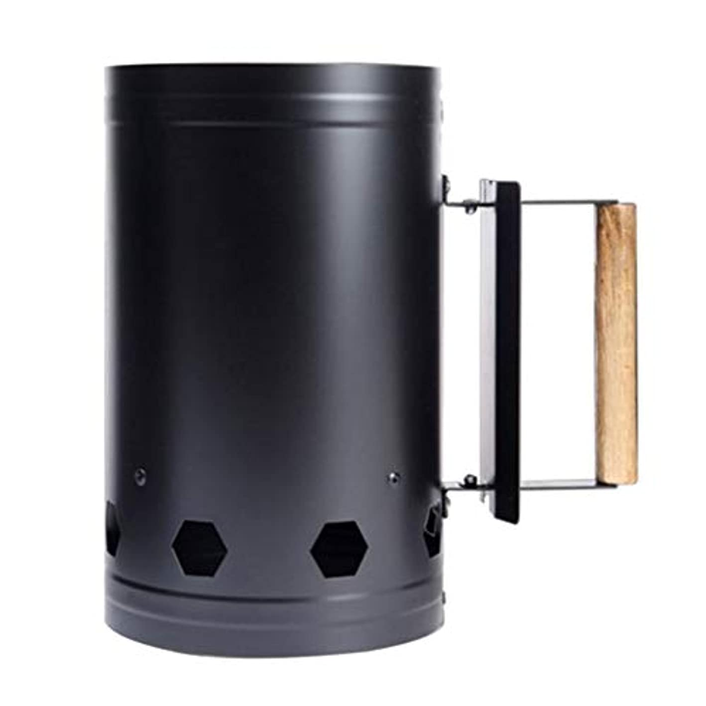 家主スパイラル記者Fenteer チャコールチムニースターター 木製ハンドル バーベキューチムニースターター 火おこし器 ブラック