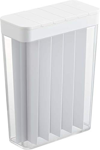 計量 ライスストッカー スライド式 1合分別 冷蔵庫用米びつ ホワイト 約W18.5XD8.5XH24.5cm プレート 3822