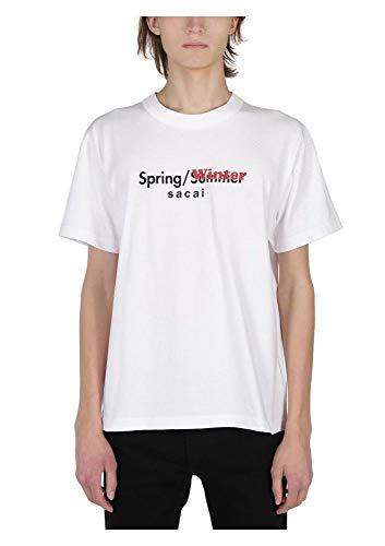 Sacai メンズ 1901928M101 ホワイト コットン T-シャツ