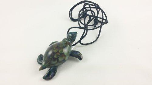 Turtle ( Honeycombシェル)–ガラスペンダントネックレス...