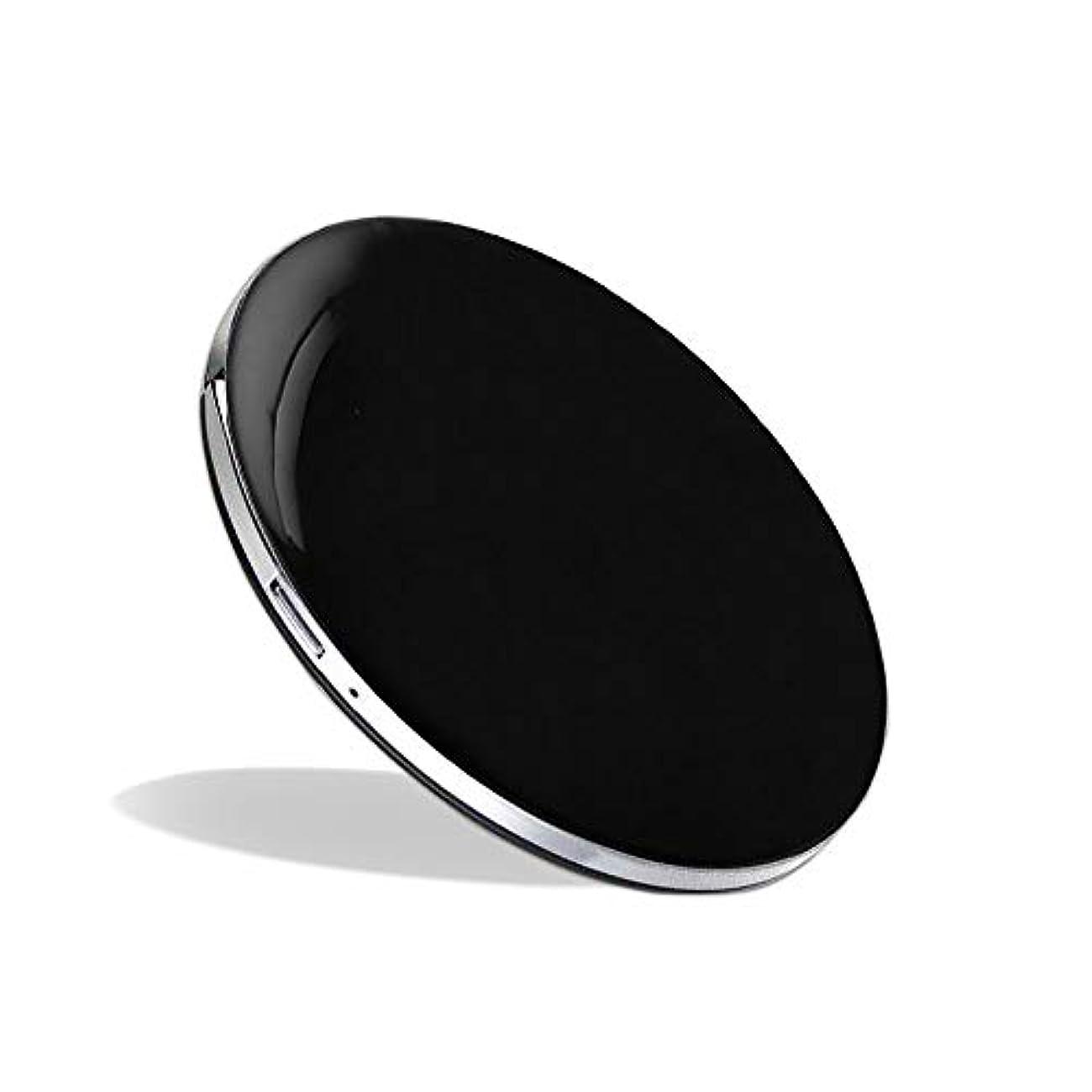 あえぎ保安騙す化粧鏡 LEDミラー コンパクトミラー ハンドミラー 円形ミラー 折りたたみ式 持ち運び便利 usb充電 軽量 3倍拡大鏡 明るさ調節可能 (ブラック)