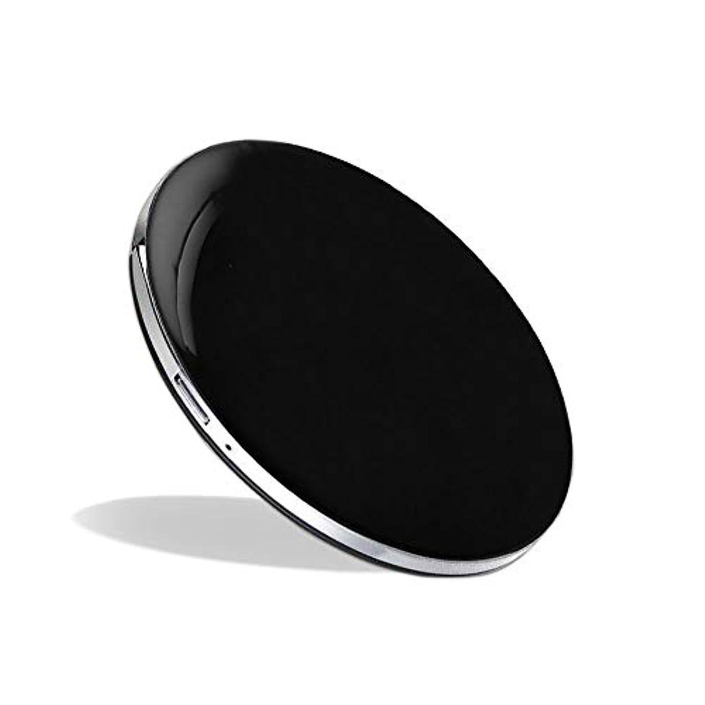 里親腐食する大人化粧鏡 LEDミラー コンパクトミラー ハンドミラー 円形ミラー 折りたたみ式 持ち運び便利 usb充電 軽量 3倍拡大鏡 明るさ調節可能 (ブラック)