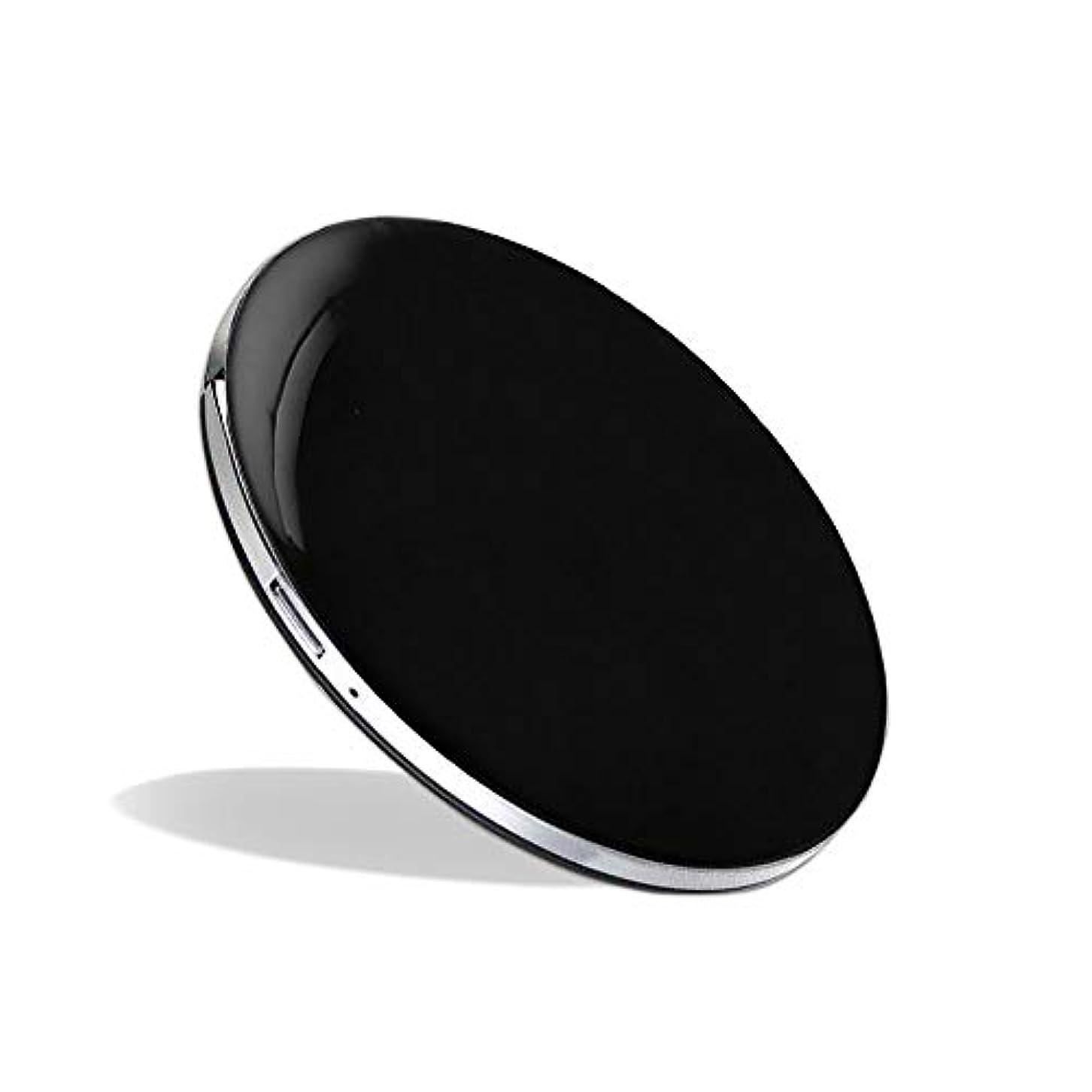 に負ける永久手足化粧鏡 LEDミラー コンパクトミラー ハンドミラー 円形ミラー 折りたたみ式 持ち運び便利 usb充電 軽量 3倍拡大鏡 明るさ調節可能 (ブラック)