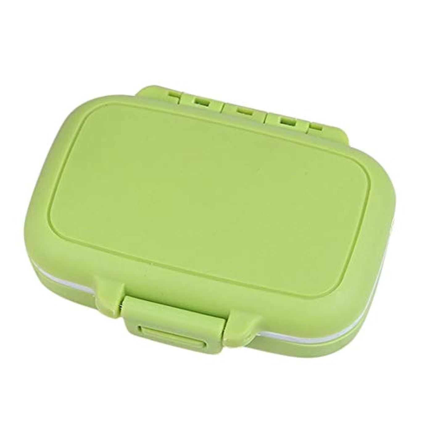 旅行者いっぱい未亡人Yxsd 応急処置キット 使用のためのプラスチック丸薬箱の携帯用小型丸薬薬容器旅行オルガナイザーの丸薬箱は上昇しました (Color : Green)