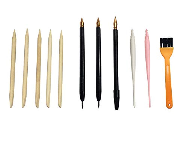 KiloNext スクラッチアート 工具セット スクラッチペン 極細 竹串 ペン ブラシ 3種のペン計11点 セット (オレンジホウキ)