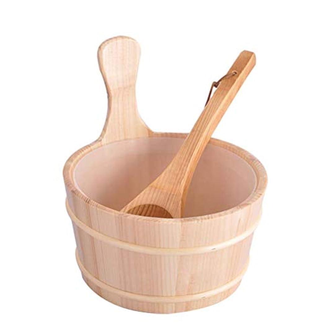 予想外賞スタックHealifty 木製バケツスプーン入浴バレルセットバケツ2個(ニュートラルスタイル)