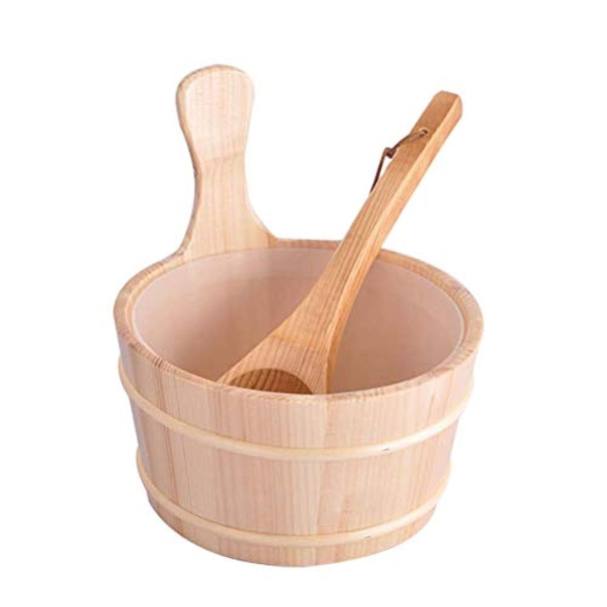 オーバーラン解釈利得Healifty 2個入りサウナ木製バケツとひしゃくキットサウナとサウナルーム用のライナー付きスパバケット(ニュートラルスタイル)
