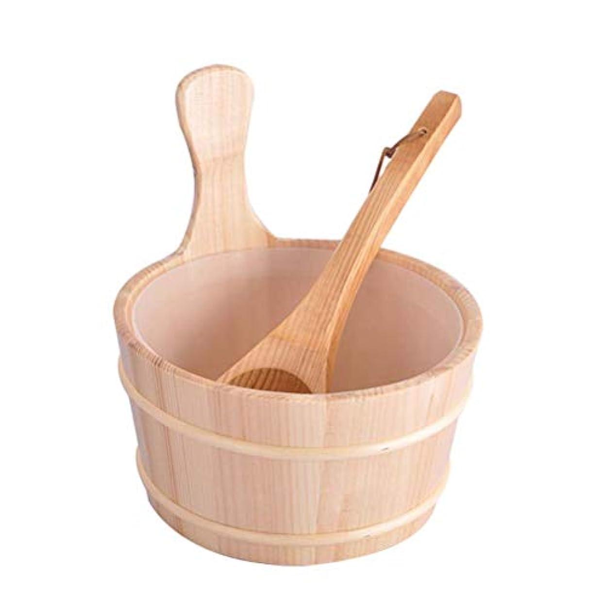 タブレット代数大気Healifty 2個入りサウナ木製バケツとひしゃくキットサウナとサウナルーム用のライナー付きスパバケット(ニュートラルスタイル)
