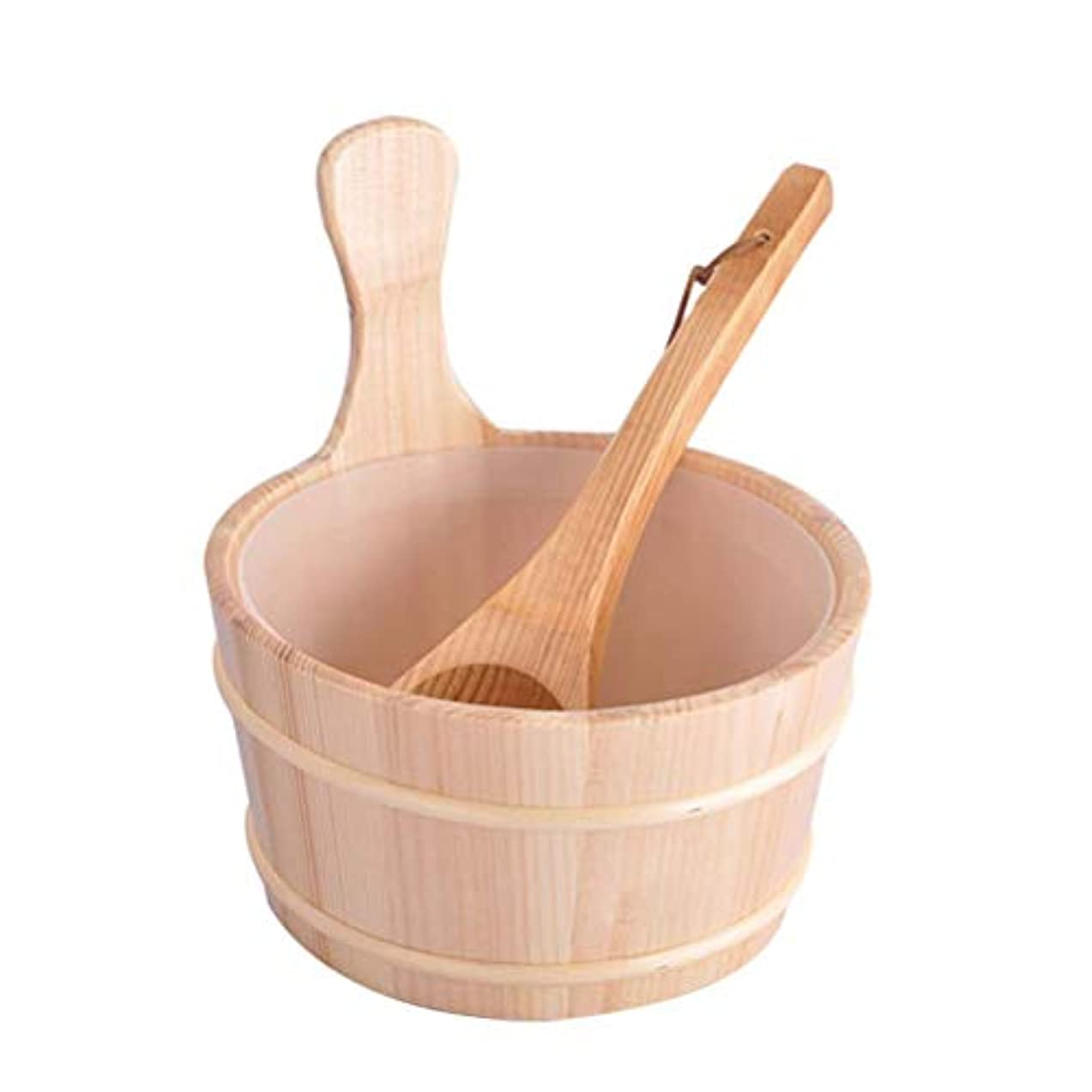 ぬいぐるみ副お母さんHealifty 木製バケツスプーン入浴バレルセットバケツ2個(ニュートラルスタイル)