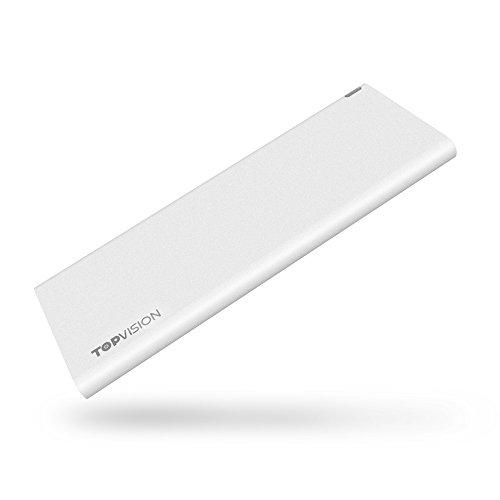 超薄型 モバイルバッテリー TOPVISION モバイルバッテリー 極薄の6.9mm 超軽量(60gだけ)超小型 最新の改良版 3600mAh (iPhone6 1.2回以上)スマホ充電器 コンパクトで持ち運び 急速充電器 バッテリー 携帯充電器 iPhone/Android各種スマホ対応 ワイト(12ヶ月製品保証)
