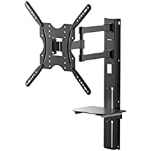 Full Motion Extended Reach Wall Mount Bracket with Support Shelf for Medium 32-55in TVs up to 66 lbs