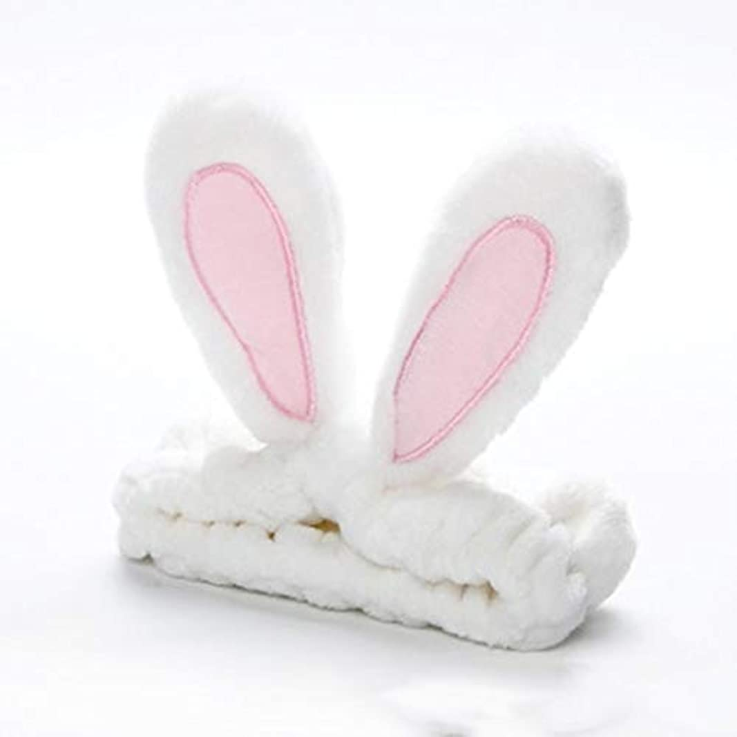 耐えられるゴルフ靴かわいいうさぎ耳帽子洗浄顔とメイクアップファッションヘッドバンド - ホワイト
