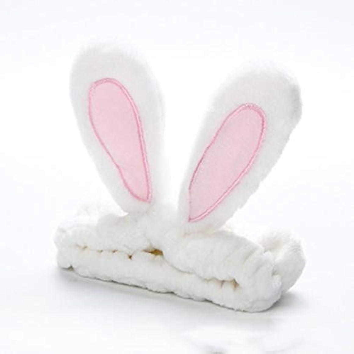 蒸気ヤギに慣れかわいいうさぎ耳帽子洗浄顔とメイクアップファッションヘッドバンド - ホワイト