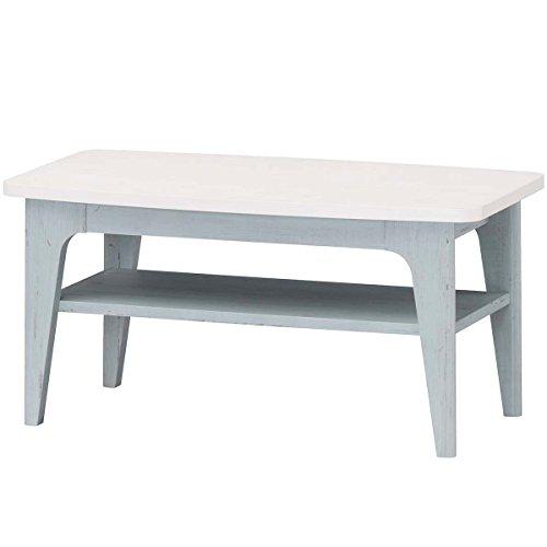 白井産業 ローテーブル 約 幅80 奥行40 高さ39 cm  センターテーブル シンプル デザイン家具 ブルー (FRS-8040T フレンチシャビー)