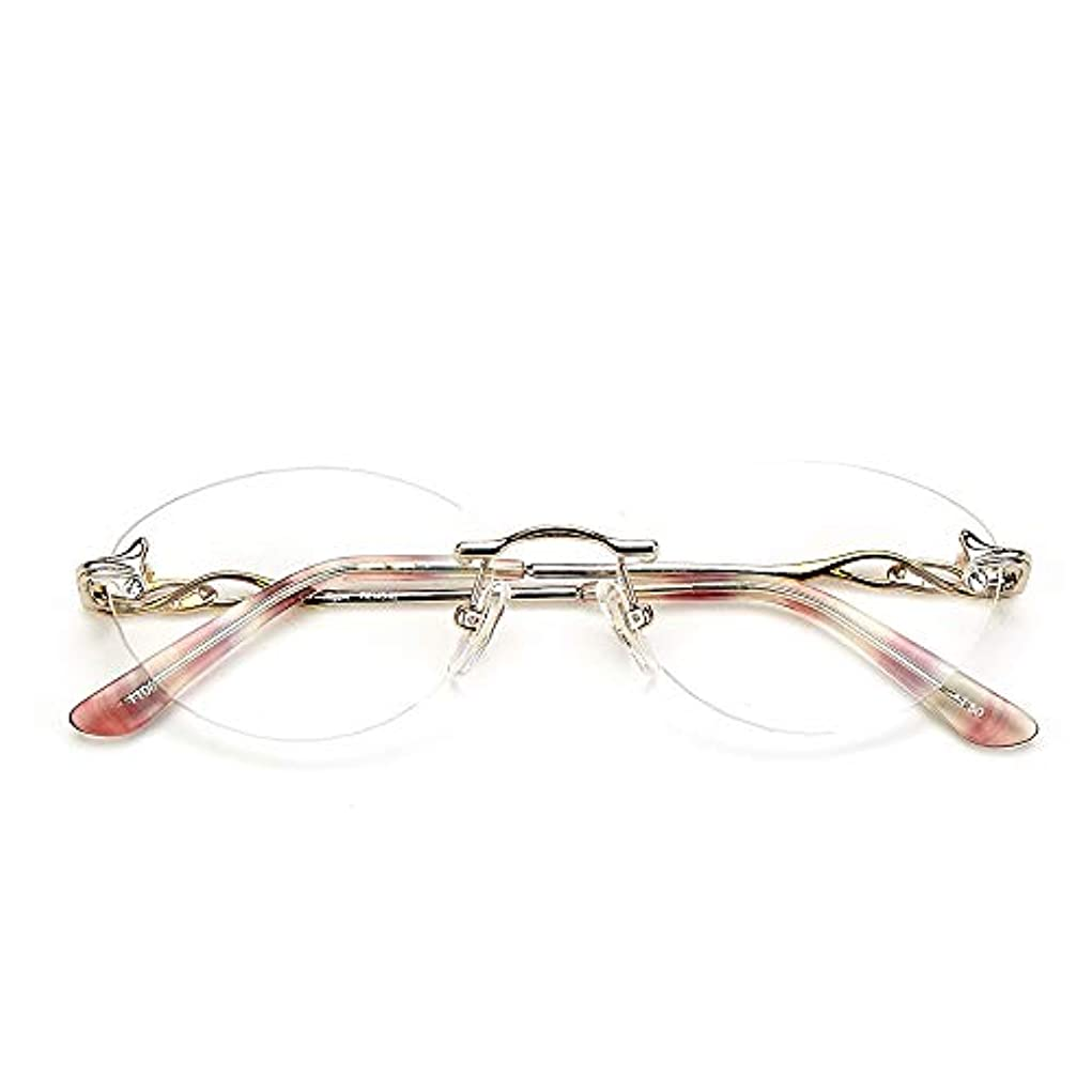 ギャザー中央値上院議員フレームレス老眼鏡|遠近両用老眼鏡レディース、累進多焦点樹脂レンズ|超軽量ポータブル眼鏡|透明レンズと紫レンズ