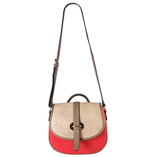 Diophy High Quanlity PU Leather Three Tone Cross Body Saddle Bag Accented with Top Handle Womens Purse Handbag CL-3502 Red [並行輸入品]