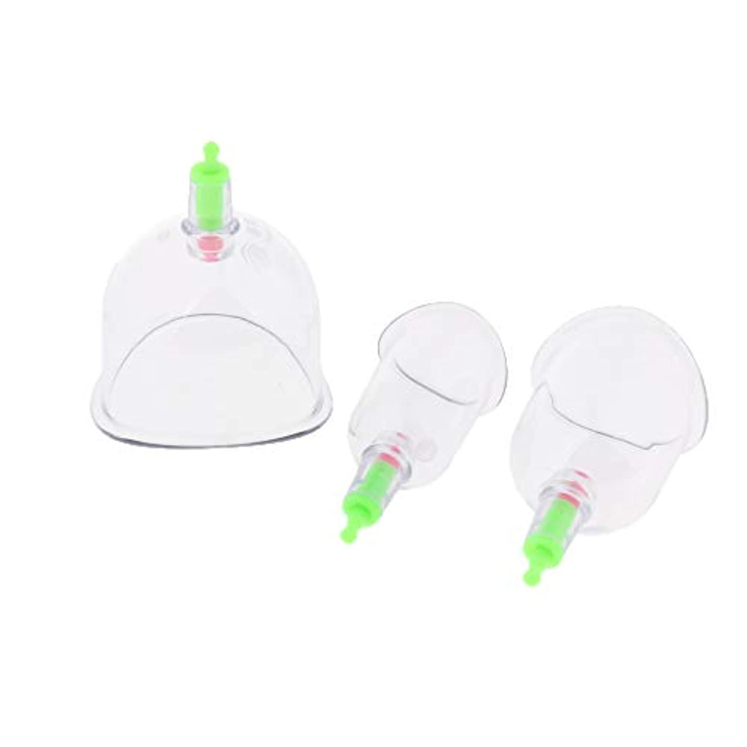 落とし穴追跡閉塞真空カッピングセット 透明なボディマッサージカップ 吸い玉 プラスチック 健康ケア 男女兼用 3個入