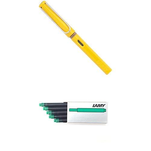 LAMY ラミー 万年筆 ペン先EF(極細字) サファリ イエロー L18-EF 両用式 コンバーター別売 正規輸入品+LAMY ラミー カートリッジインク グリーン LT10GR 20箱セット 正規輸入品