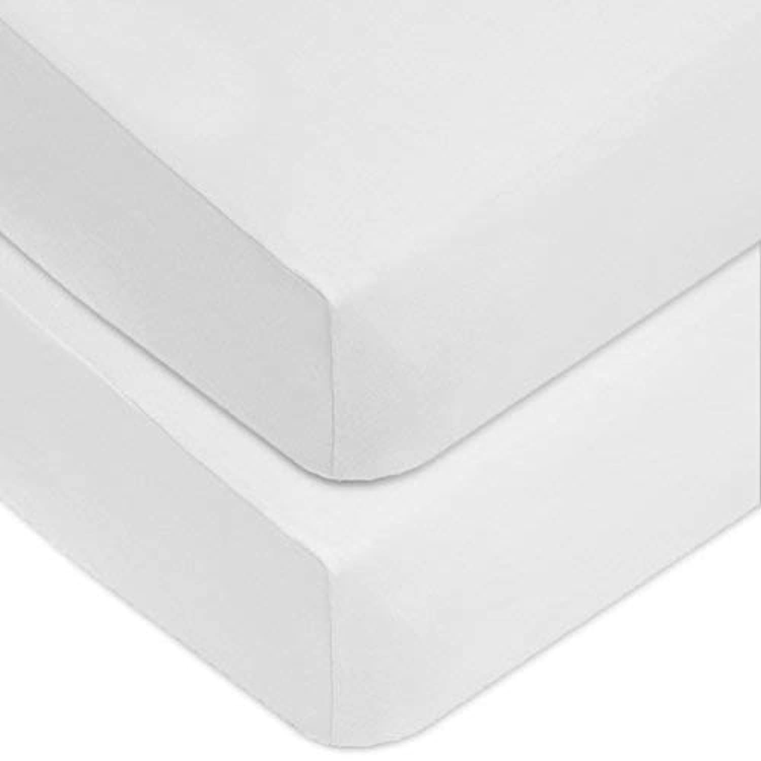 American Baby Company 2 Piece 100% Cotton Value Jersey Knit Fitted Crib Sheet White [並行輸入品]