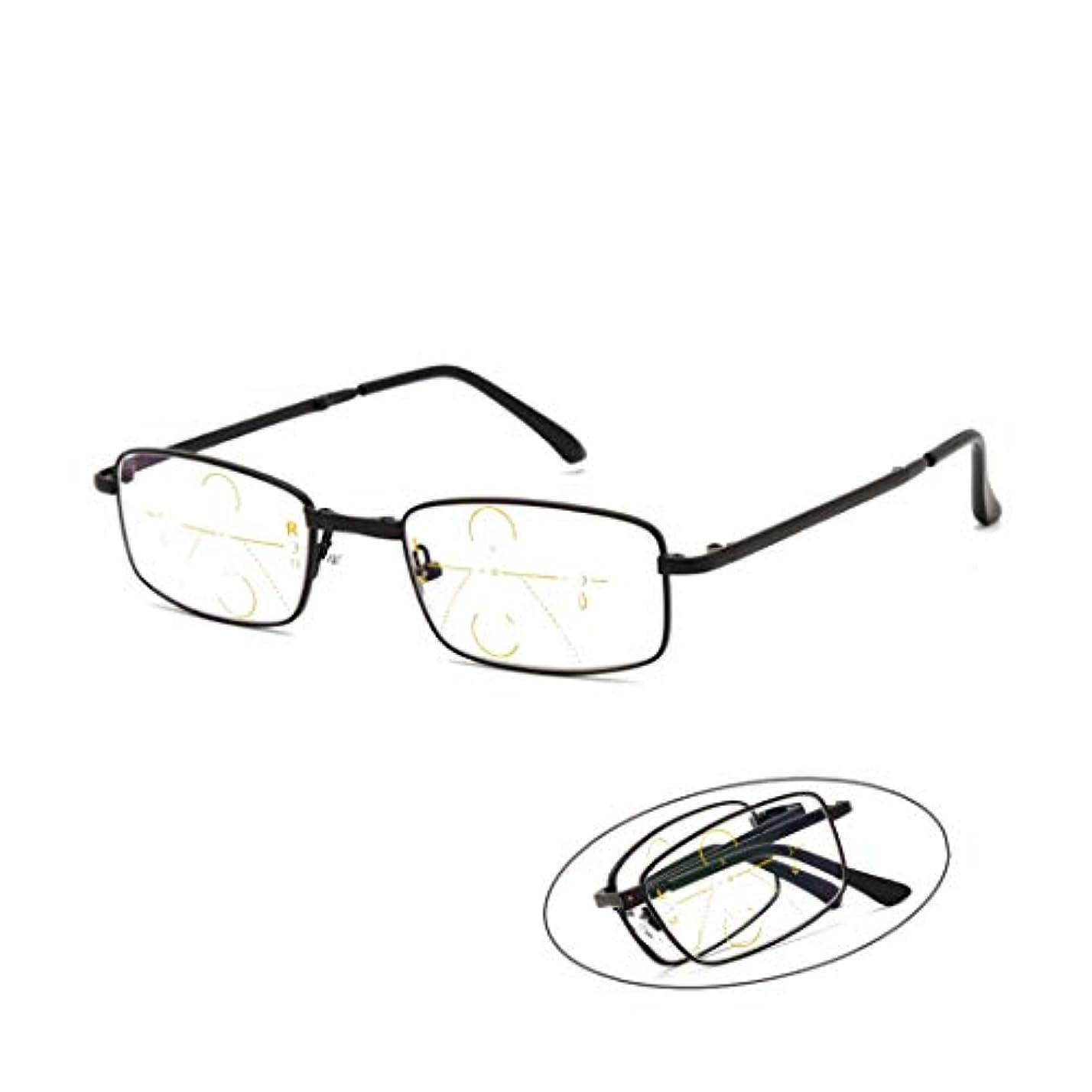 ショートカット証書分析的フォトクロミックファッション老眼鏡、累進多焦点オートズームメガネ、アンチブルー放射線安全レンズ、快適なユニセックス