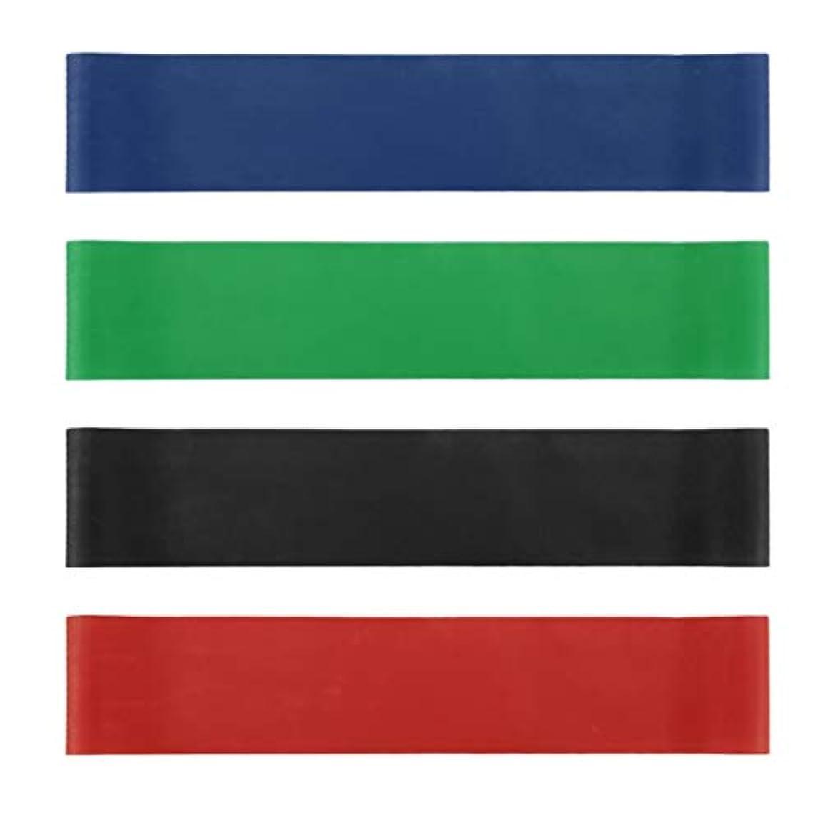 引き渡す促すリテラシー4本の伸縮性ゴム弾性ヨガベルトバンドプルロープ張力抵抗バンドループ強度のフィットネスヨガツール - レッド&ブルー&グリーン&ブラック