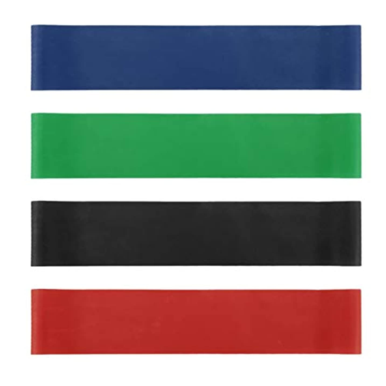 準備したうぬぼれた軽量4本の伸縮性ゴム弾性ヨガベルトバンドプルロープ張力抵抗バンドループ強度のフィットネスヨガツール - レッド&ブルー&グリーン&ブラック