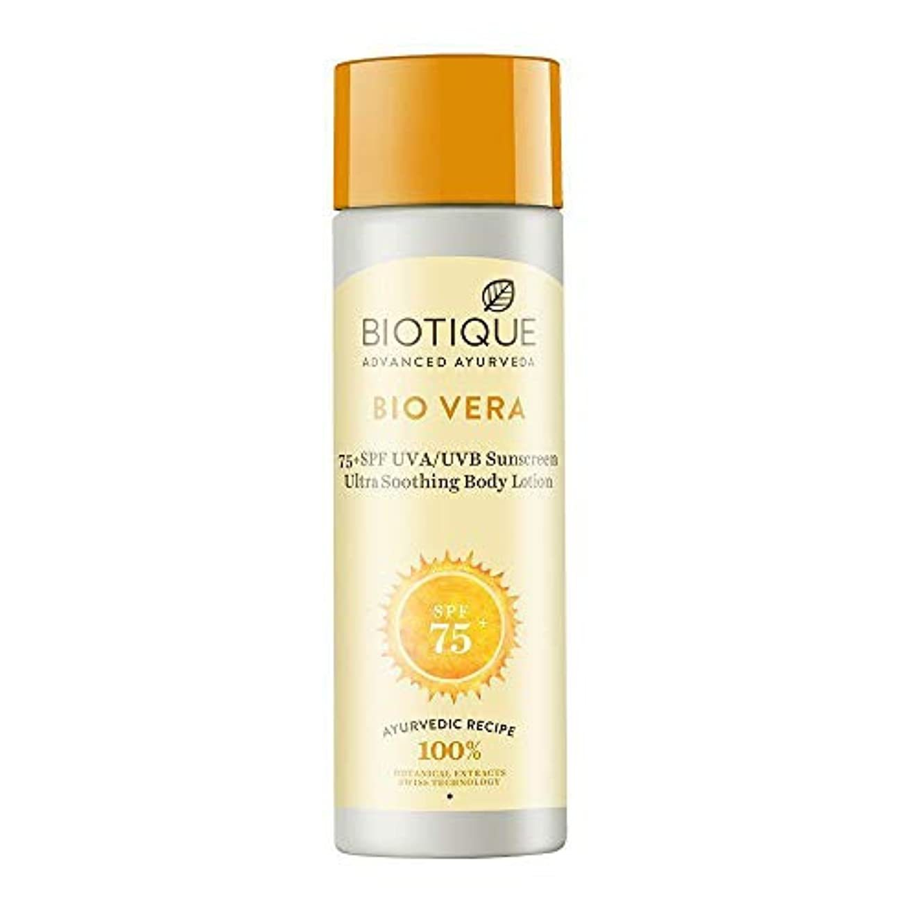 グラフ展示会馬鹿BIOTIQUE BIO VERA SPF 75+ UVA/UVB SUNSCREEN ULTRA SOOTHING LOTION - 190ml BIOTIQUE BIO VERA SPF 75+ UVA/UVBサンスクリーンウルトラソーティングローション