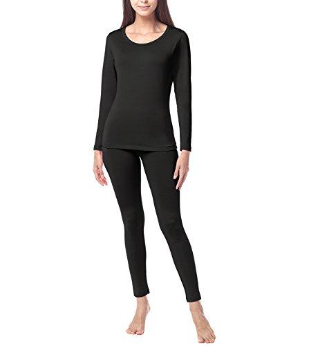 (ラパサ)Lapasa レディース肌着 上下セット 長袖シャツ ロングパンツ 防寒 保温 婦人インナー L17 (M, ブラック)