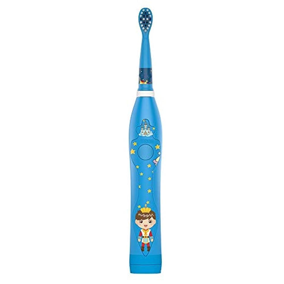 テーマ変装した毎月家庭用電動歯ブラシ 子供の電動歯ブラシかわいいUSB充電式歯ブラシホルダーと2つの交換用ヘッド 男性用女性子供大人 (色 : 青, サイズ : Free size)