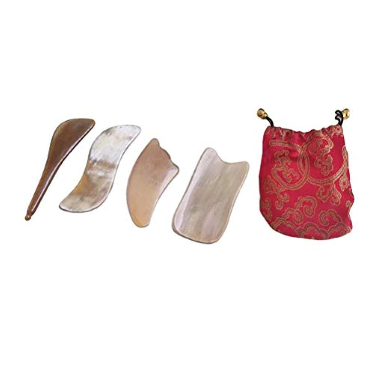 色火山寛容Healifty スクラップボードナチュラルオックスホーンフェイシャルスクラップデバイスホーンguashaボード付き巾着袋用スパリラックス瞑想4ピース