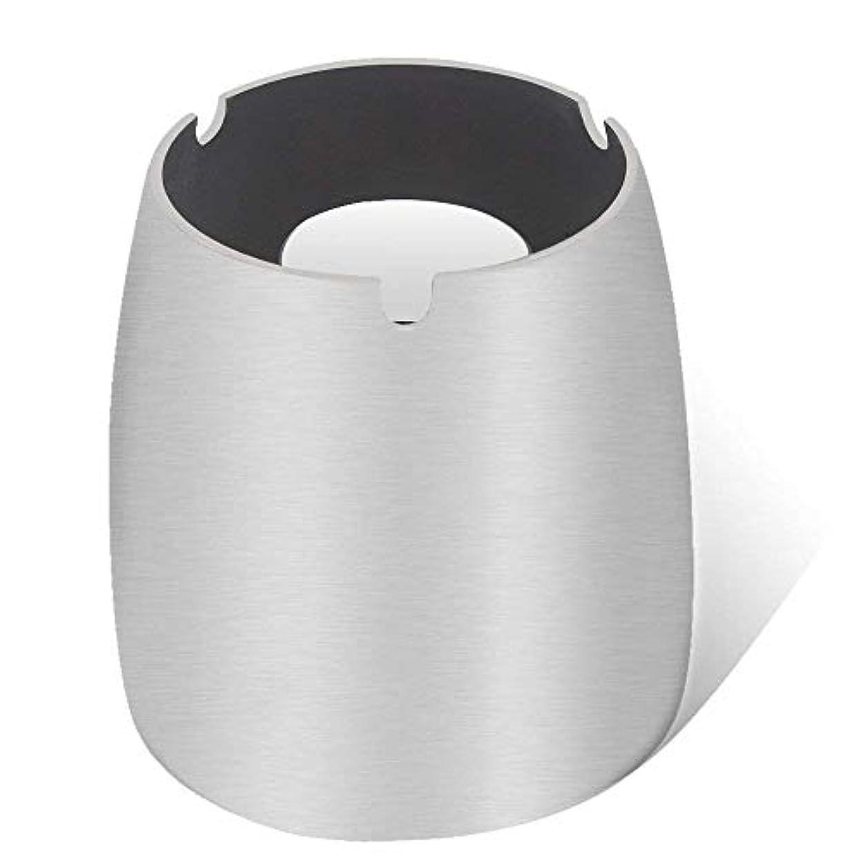ラフ受粉する運賃灰皿、ステンレススチール風灰皿タンブルカップ、屋内または屋外用、ガーデンバルコニーシルバー