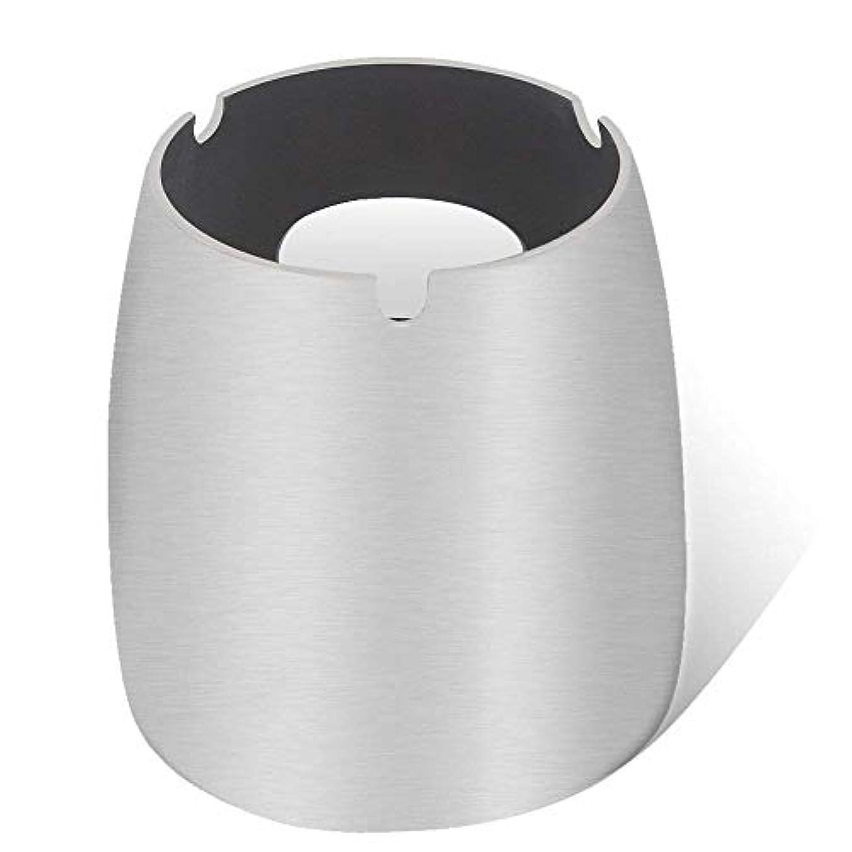 毎月印象的機構灰皿、ステンレススチール風灰皿タンブルカップ、屋内または屋外用、ガーデンバルコニーシルバー
