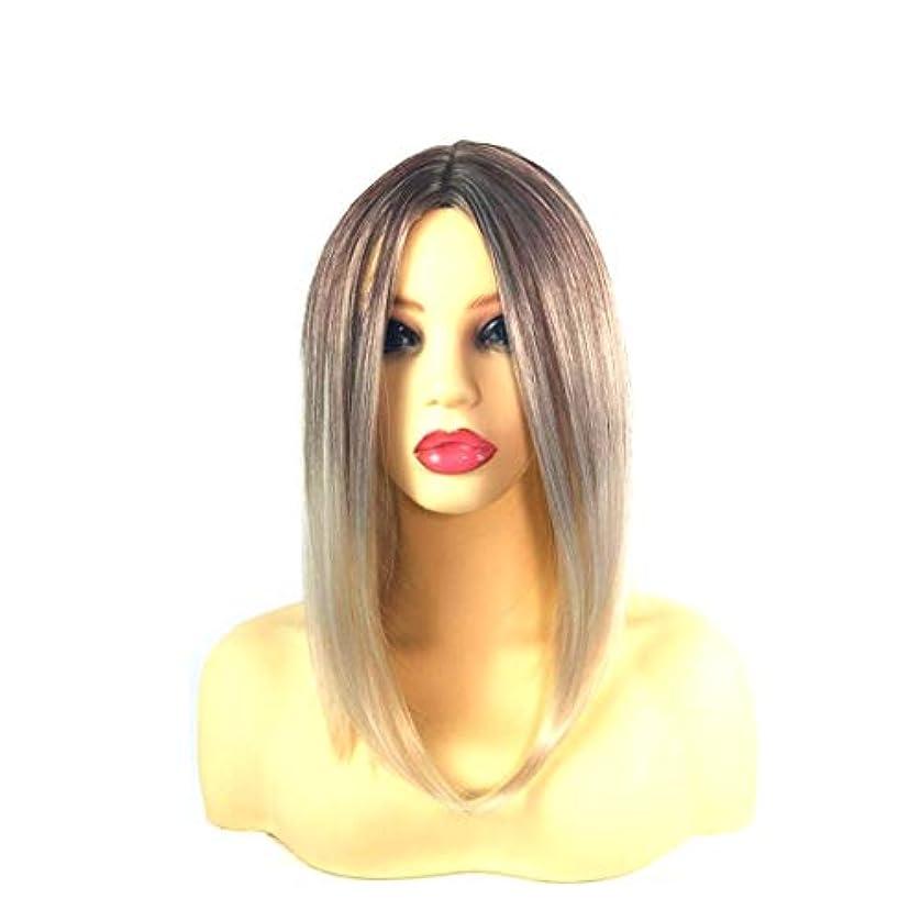 財布慣らす天国Kerwinner 女性のための前髪の短いストレートの髪の黒のグラデーションライスホワイトウィッグヘッドバンド