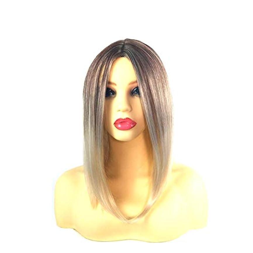 悪意力強い副詞Summerys 女性のための前髪の短いストレートの髪の黒のグラデーションライスホワイトウィッグヘッドバンド