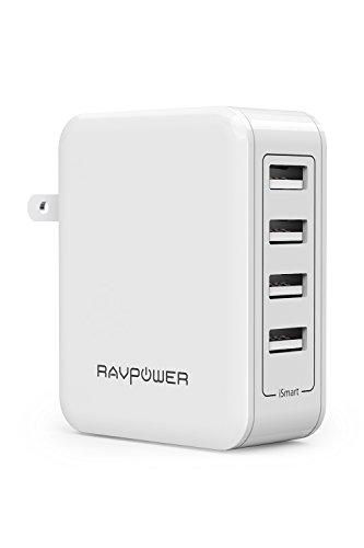 USB充電器 RAVPower 40W 4ポート 充電器 iPhone iPad Android スマホ タブレット モバイルバッテリー 等対応 acアダプタ 急速充電器 (ホワイト) RP-PC026