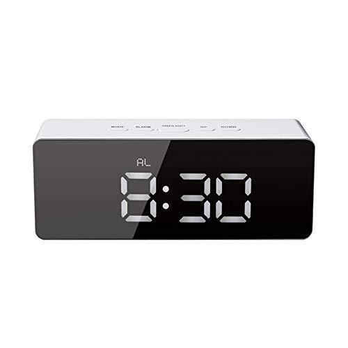 目覚まし時計 ミラー表面デザイン デジタル 置き時計 大きなLED数字表示 寝室 オフィス 旅行用スヌーズ時間温度機能 - バッテリー駆動とUSB駆動